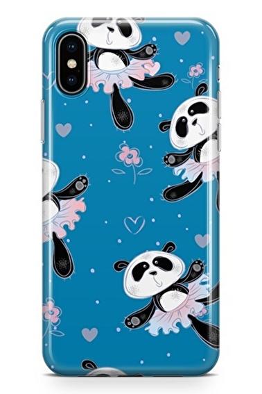 Lopard iPhone Xs Max Kılıf Silikon Arka Kapak Koruyucu Balerin Pandalar Desenli Full HD Baskılı Renkli